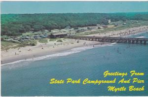 Aerial View, State Park Campground and Pier, MYRTLE BEACH, South Carolina, 40...