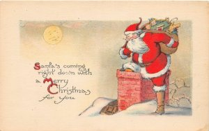 F94/ Santa Claus Merry Christmas Postcard c1910 Chimney Toys 22