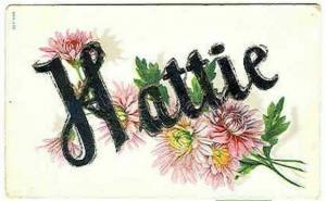 pc6272 postcard Name Hattie writing on back.