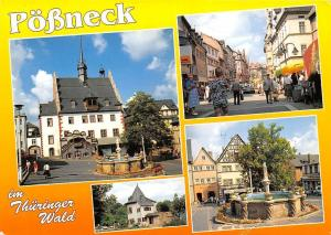 Poessneck im Thueringer Wald, Rathaus Glockenturm Markt Boulevard