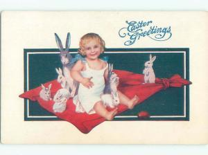 Pre-Linen easter CUTE GIRL WITH MANY PET BUNNY RABBITS J2522