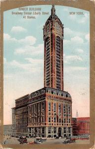 New York, Singer Building, Broadway Corner Liberty Street, trams cars carriages