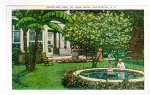 Courtyard View, St. John Hotel, Charleston, South Carolina unused linen Postcard