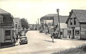 Deer Isle Village Street View Store Fronts Old Cars in 1941 RPPC Postcard
