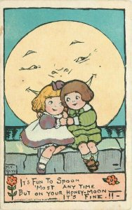 1907 Margaret Hays Moon Spoon Romantic Children Saying Motto Rose Postcard