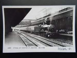 Devon STEAM TRAIN AT EXETER ST. DAVIDS c1952 RP Postcard by Pamlin Repro M852