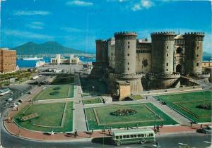 Italy Naples Maschio Angioino castle and Sea Station bus