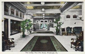 PITTSBURGH , Pennsylvania , 1910s ; The Lobby , Fort Pitt Hotel