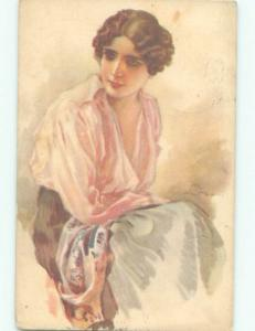 Divided-Back PRETTY WOMAN Risque Interest Postcard AA8072
