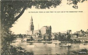 1930s Hartford Connecticut Travelers Tower River Collotype postcard 10740