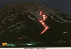 BANFF , Alberta , Canada , 50-60s ; Torchlight parade on Mt. Norquay