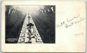 Waterloo, Iowa Postcard BANQUET TABLE IN FAMOUS DRY RUN SEWER 1908 Cancel
