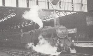 LMS Black 5 45279 Train To Welsh Coast at Manchester Exchange Postcard