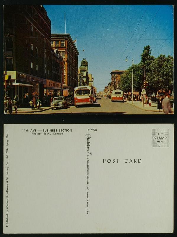 11th Avenue Regina Saskatchewan trolley buses 1950s