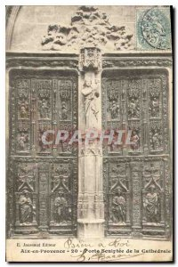Old Postcard Aix en Provence Carved door of the cathedral