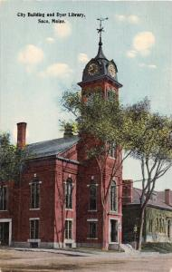 SACO MAINE~CITY HALL BUILDING & OLIVE DYER LIBRARY~POSTCARD 1910s