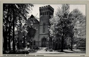 Danville Indiana~Methodist Church Corner~1930s B&W Wayne Paper Box Postcard
