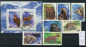 265163 Kyrgyzstan 1995 year used set+S/S Snow LEOPARD BIRDS