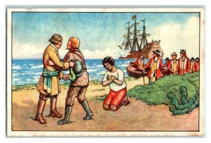 Rescued by English Warship, Robinson Crusoe, Echte Wagner German Trade Card