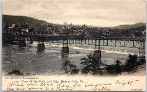Beaver Falls, Pennsylvania Postcard View of the Falls & City HAND-COLORED 1906