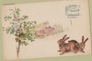 Kellemes Husveti Unnepeket Happy Easter Postcard Antique Budapest