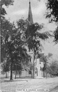 First M E Church Aurora Illinois 1910 postcard