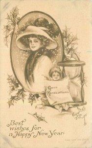 Artist impression 1912 Best Wishes Happy New Year Postcard 21-10375