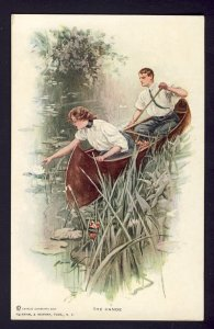 THE CANOE #103 R&N man woman canoeing in a pond,  HARRISON FISHER artist