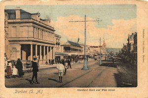 South Africa Durban Standard Bank and West Street Tram Postcard