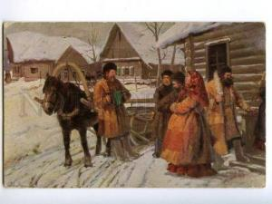139825 RUSSIA Village Rural Feast-day by LVOV vintage color PC