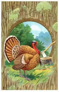 10530  Thanksgiving  Turkey and  Ax, chopping block