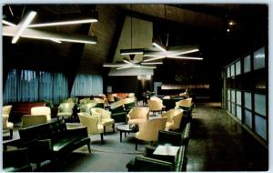 YELLOWSTONE NATIONAL PARK  Interior CANYON LODGE LOUNGE c1950s Curteich Postcard