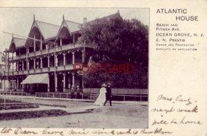 pre-1907 ATLANTIC HOUSE Beach and Pitman Ave OCEAN GROVE N.J. E N Prentis, Prop