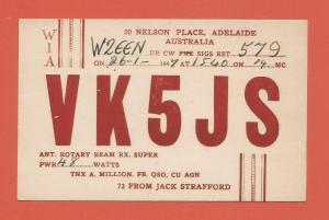 QSL AMATEUR RADIO CARD – ADELAIDE, AUSTRALIA – 1947