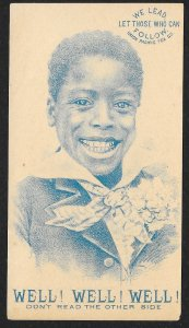 VICTORIAN TRADE CARD Union Pacific Tea Well Dressed Black Boy Smiling