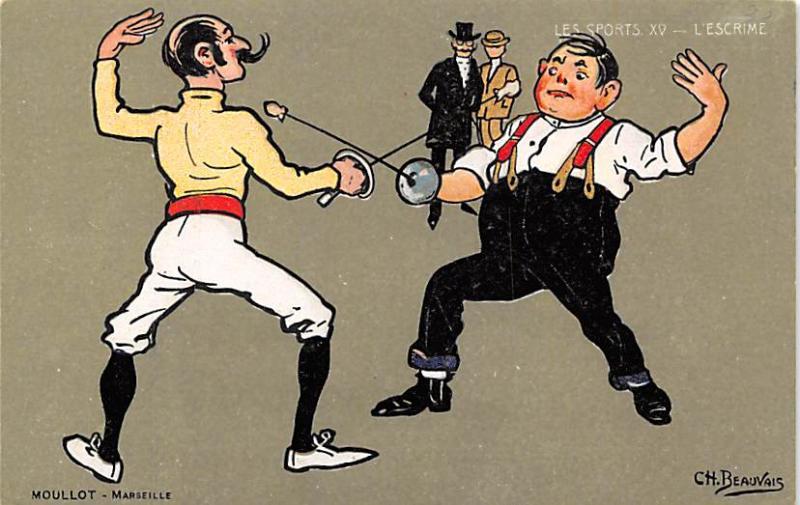 Artist Ch. Beauvais, Fencing Postcard Postcards Unused
