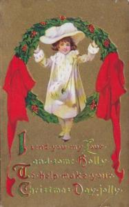 Christmas Girl With Holly Wreath