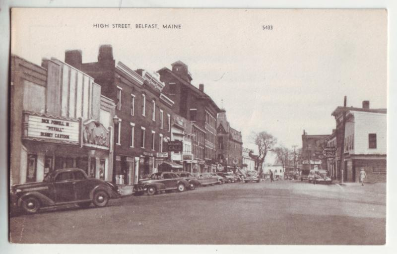 P967 old card high street scene many old cars etc belfast maine