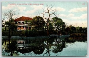 Omaha Nebraska~Hanscom Park Pavilion Reflects in Water~Group at Edge~1907 PC