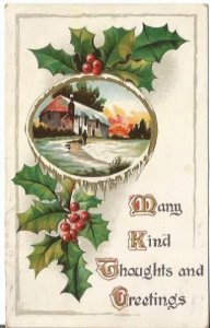 Vintage Postcard, Winter Countryside Scene Framed in Ice Holly Leaves and Holly