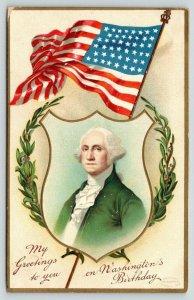 Patriotic~Washington's Birthday~Laurel Wreath Portrait~US Flag~Embossed~1910