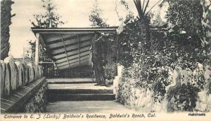 C-1905 San Gabriel California Baldwins Residence entrance Ranch postcard 4994