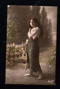 014722 GIPSY Girl w/ LONG HAIR & MANDOLIN vintage PHOTO tinted