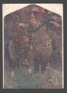 093460 Great BOGATYR on HORSE by VRUBEL vintage ART NOUVEAU PC