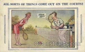Art comic, Bamforth Comic, USA Tennis, Old Vintage Antique, Post Card Postcar...
