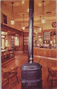 DISNEYLAND - interior view of the Upjohn Country Store & potbelly stove, 1950s