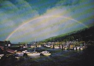 Canada Rainbow Over Queen Charlotte City Government Wharf British Columbia