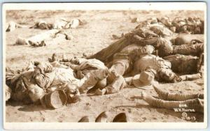 RPPC   MEXICAN BORDER WAR  Gruesome DEAD BODIES Corpses 1913 Horne Postcard<