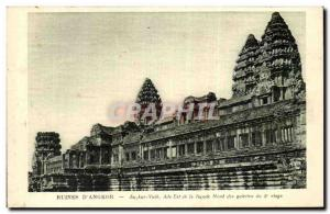 Old Postcard Ruins D & # 39Angkor Angkor Vath wing of the north façade of th...
