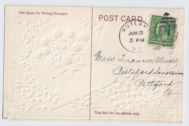 Greetings Remembrance Embossed Gilt Clover Forget Me Nots 1910 Vintage Postcard
